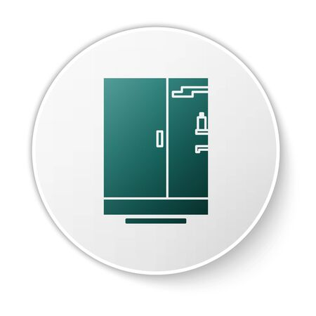 Green Shower cabin icon isolated on white background. White circle button. Vector Illustration