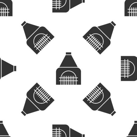 Grey Interior fireplace icon isolated seamless pattern on white background. Vector Illustration Banque d'images - 138424029