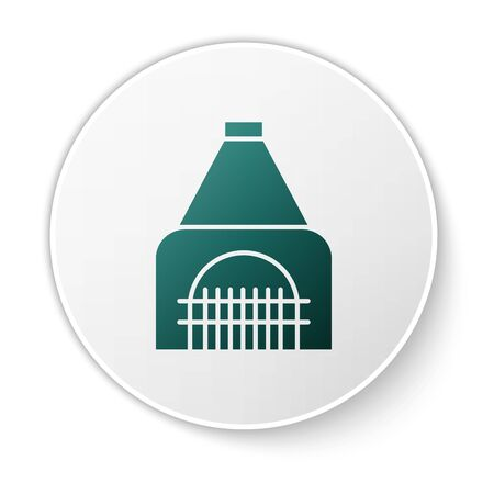 Green Interior fireplace icon isolated on white background. White circle button. Vector Illustration Banque d'images - 138424033