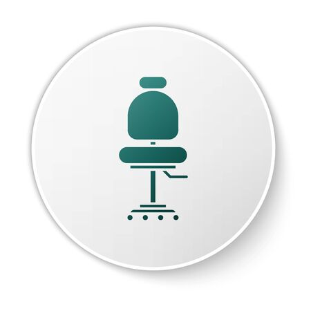 Green Office chair icon isolated on white background. White circle button. Vector Illustration Stockfoto - 138424044