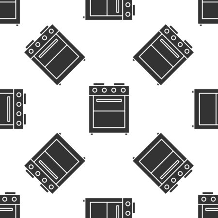 Grey Oven icon isolated seamless pattern on white background. Stove gas oven sign. Vector Illustration