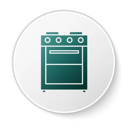 Green Oven icon isolated on white background. Stove gas oven sign. White circle button. Vector Illustration Archivio Fotografico - 138424052