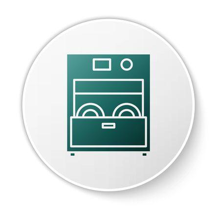 Green Kitchen dishwasher machine icon isolated on white background. White circle button. Vector Illustration Archivio Fotografico - 138424056