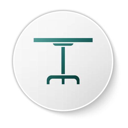 Green Round table icon isolated on white background. White circle button. Vector Illustration Archivio Fotografico - 138424429