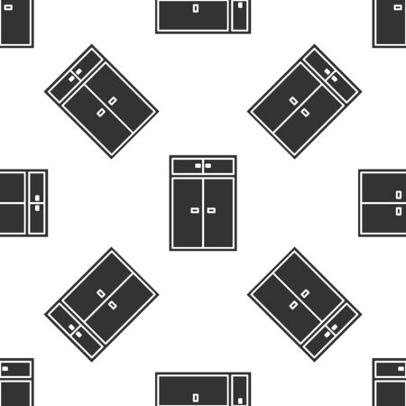 Grey Wardrobe icon isolated seamless pattern on white background. Vector Illustration Ilustração
