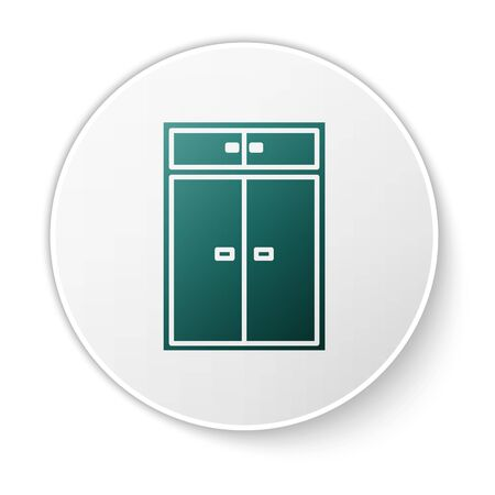 Green Wardrobe icon isolated on white background. White circle button. Vector Illustration