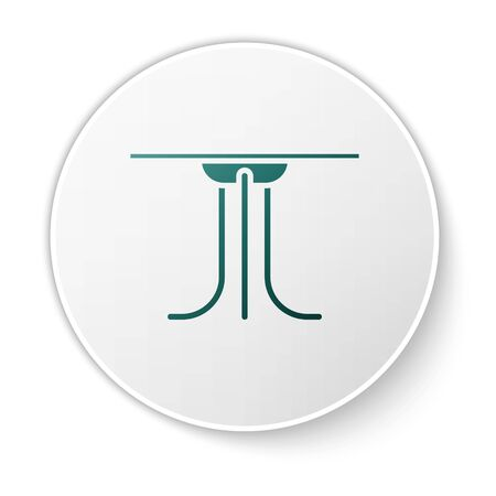 Green Round table icon isolated on white background. White circle button. Vector Illustration Archivio Fotografico - 138424544