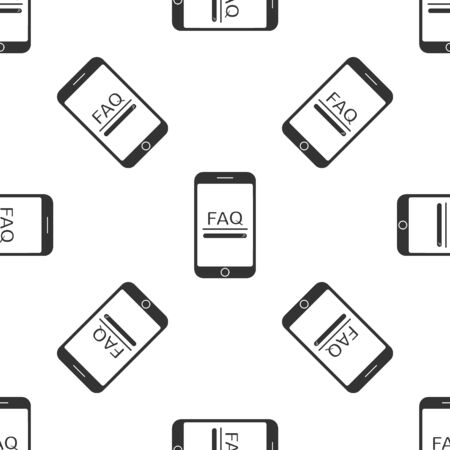 Grey Mobile phone with text FAQ information icon isolated seamless pattern on white background. Frequently asked questions. Vector Illustration