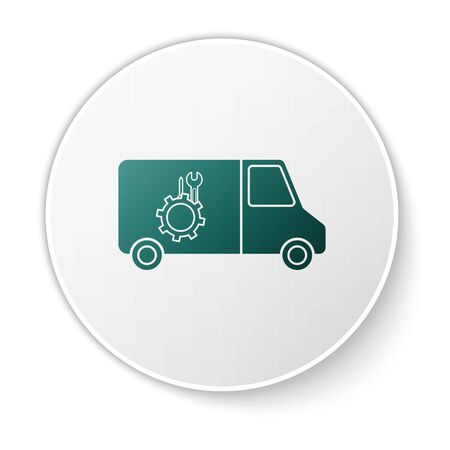 Green Car service icon isolated on white background. Repair service auto mechanic. Maintenance sign. White circle button. Vector Illustration