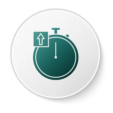 Green Stopwatch icon isolated on white background. Time timer sign. Chronometer sign. White circle button. Vector Illustration