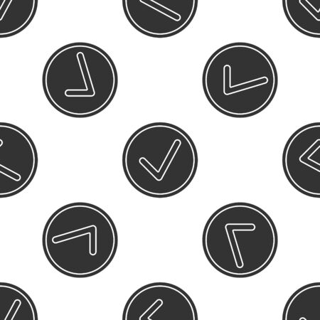 Grey Check mark in circle icon isolated seamless pattern on white background. Choice button sign. Checkmark symbol. Vector Illustration