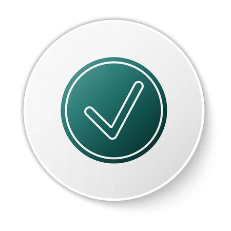 Green Check mark in circle icon isolated on white background. Choice button sign. Checkmark symbol. White circle button. Vector Illustration Illusztráció