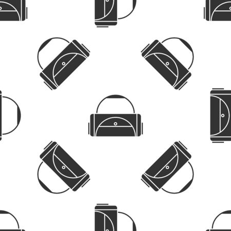 Grey Sport bag icon isolated seamless pattern on white background. Vector Illustration Vettoriali