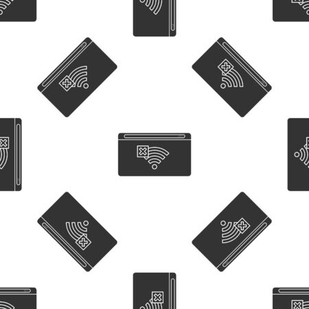 Grey No Internet connection icon isolated seamless pattern on white background. No wireless wifi or sign for remote internet access. Vector Illustration Stock Illustratie