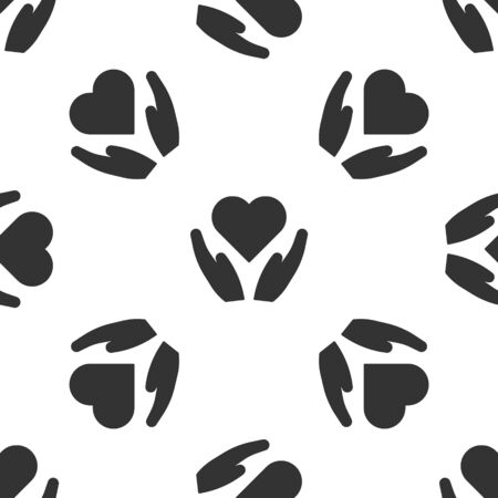 Grey Heart on hand icon isolated seamless pattern on white background. Hand giving love symbol. Valentines day symbol. Vector Illustration