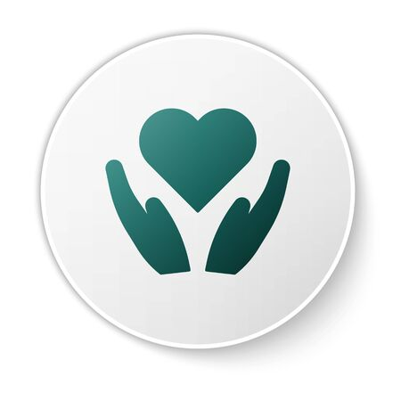 Green Heart on hand icon isolated on white background. Hand giving love symbol. Valentines day symbol. White circle button. Vector Illustration