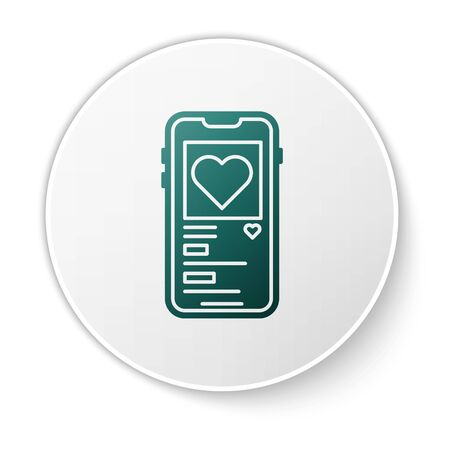 Green Mobile phone with heart icon isolated on white background. Valentines day. White circle button. Vector Illustration
