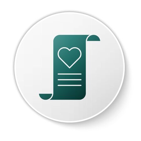 Green Envelope with Valentine heart icon isolated on white background. Message love. Letter love and romance. White circle button. Vector Illustration