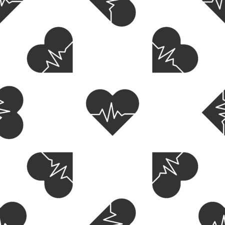 Grey Heart rate icon isolated seamless pattern on white background. Heartbeat sign. Heart pulse icon. Cardiogram icon. Vector Illustration