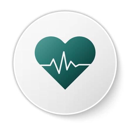 Green Heart rate icon isolated on white background. Heartbeat sign. Heart pulse icon. Cardiogram icon. White circle button. Vector Illustration Ilustracja