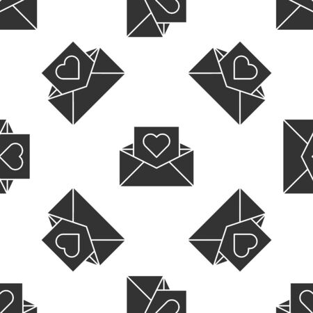 Grey Envelope with Valentine heart icon isolated seamless pattern on white background. Message love. Letter love and romance. Vector Illustration