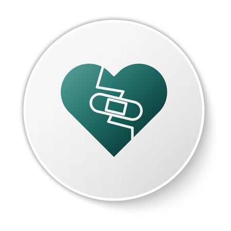 Green Healed broken heart or divorce icon isolated on white background. Shattered and patched heart. Love symbol. Valentines day. White circle button. Vector Illustration