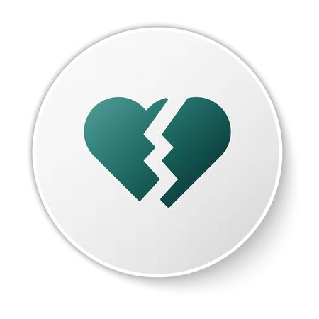Green Broken heart or divorce icon isolated on white background. Love symbol. Valentines day. White circle button. Vector Illustration
