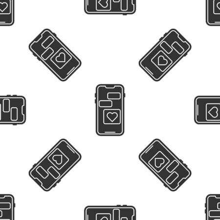 Grey Mobile phone with heart icon isolated seamless pattern on white background. Valentines day. Vector Illustration
