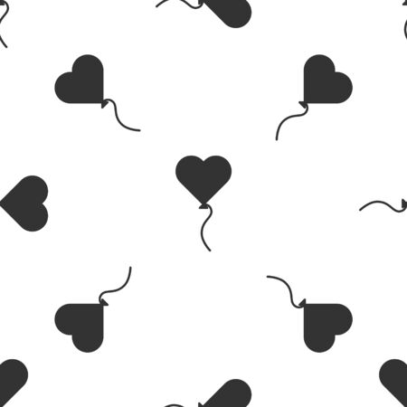 Grey Balloons in form of heart with ribbon icon isolated seamless pattern on white background. Valentines day symbol. Vector Illustration