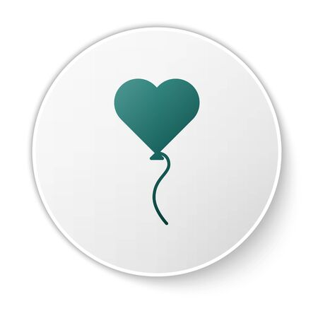 Green Balloons in form of heart with ribbon icon isolated on white background. Valentines day symbol. White circle button. Vector Illustration