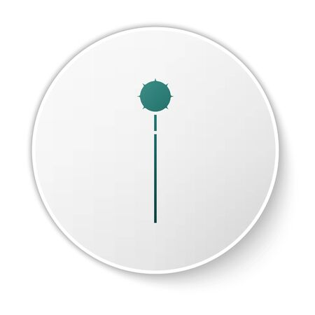 Green Medieval chained mace ball icon isolated on white background. Medieval weapon. White circle button. Vector Illustration