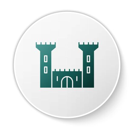 Green Castle icon isolated on white background. Fortress sign. White circle button. Vector Illustration