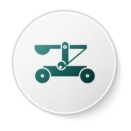 Green Old medieval wooden catapult shooting stones icon isolated on white background. White circle button. Vector Illustration
