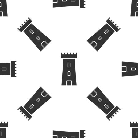 Grey Castle tower icon isolated seamless pattern on white background. Fortress sign. Vector Illustration