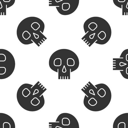 Grey Skull icon isolated seamless pattern on white background. Vector Illustration