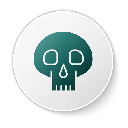Green Skull icon isolated on white background. White circle button. Vector Illustration