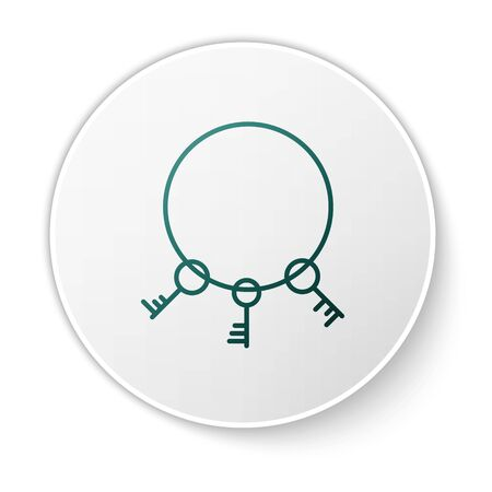 Green Old keys icon isolated on white background. White circle button. Vector Illustration