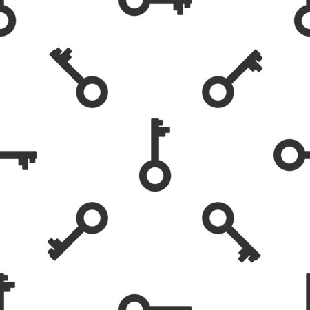 Grey Old key icon isolated seamless pattern on white background. Vector Illustration