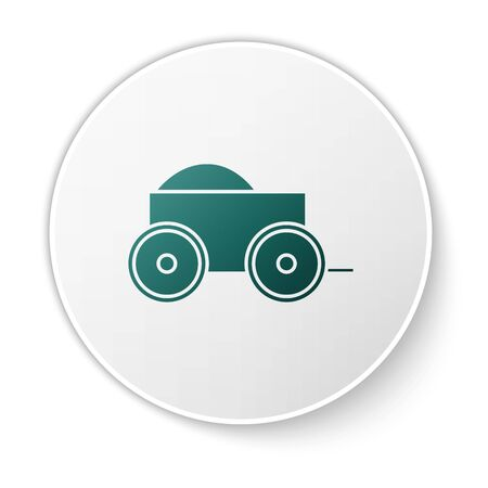 Green Wooden four-wheel cart with hay icon isolated on white background. White circle button. Vector Illustration