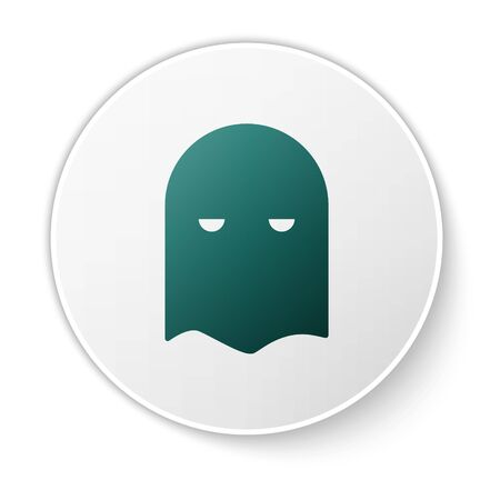 Green Executioner mask icon isolated on white background. Hangman, torturer, executor, tormentor, butcher, headsman icon. White circle button. Vector Illustration