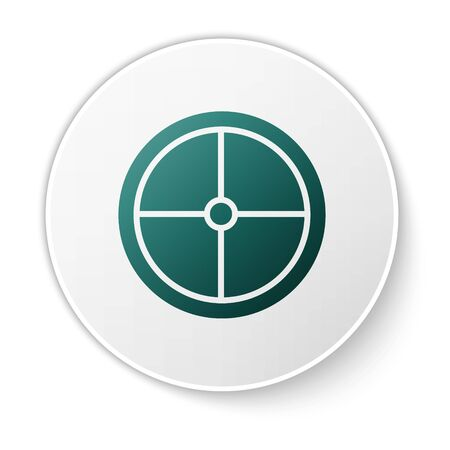 Green Round wooden shield icon isolated on white background. Security, safety, protection, privacy, guard concept. White circle button. Vector Illustration