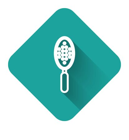 White line Hairbrush icon isolated with long shadow. Comb hair sign. Barber symbol. Green square button. Vector Illustration