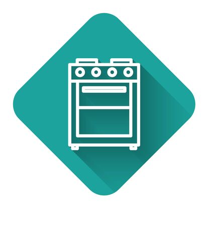 White line Oven icon isolated with long shadow. Stove gas oven sign. Green square button. Vector Illustration Archivio Fotografico - 138428823