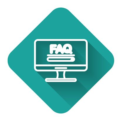 White line Computer monitor with text FAQ information icon isolated with long shadow. Frequently asked questions. Green square button. Vector Illustration
