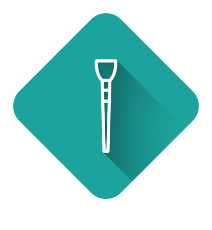 White line Makeup brush icon isolated with long shadow. Green square button. Vector Illustration Çizim