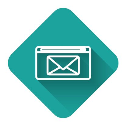 White line Mail and e-mail icon isolated with long shadow. Envelope symbol e-mail. Email message sign. Green square button. Vector Illustration