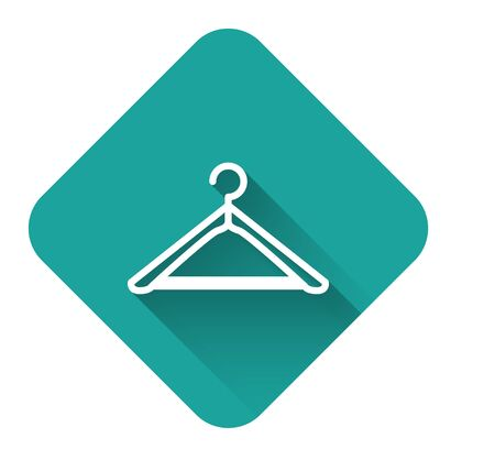 White line Hanger wardrobe icon isolated with long shadow. Cloakroom icon. Clothes service symbol. Laundry hanger sign. Green square button. Vector Illustration