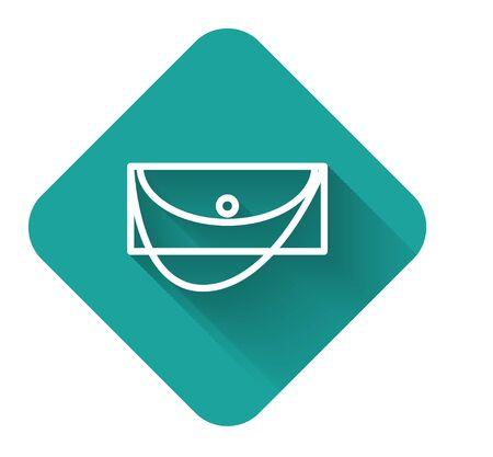 Weiße Linie Handtaschensymbol mit langem Schatten isoliert. Damen Clutch Geldbörse. Grüne quadratische Schaltfläche. Vektorillustration