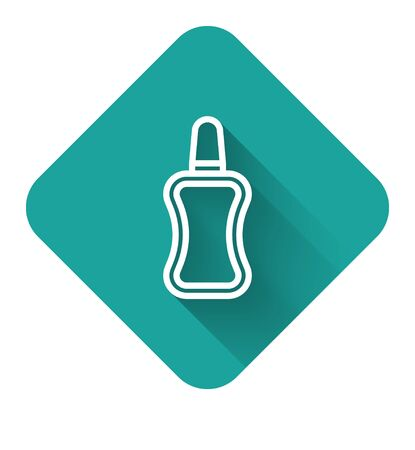 White line Nail polish bottle icon isolated with long shadow. Green square button. Vector Illustration