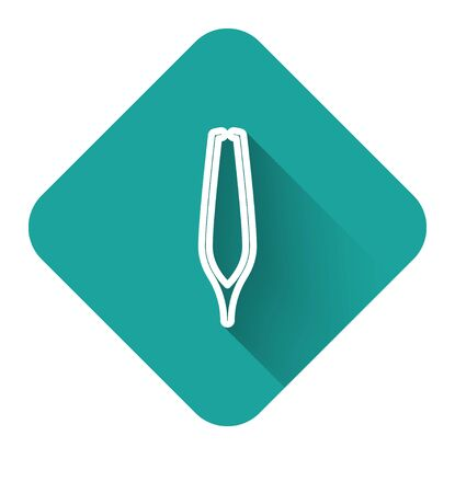 White line Eyebrow tweezers icon isolated with long shadow. Cosmetic tweezers for ingrown hair. Green square button. Vector Illustration